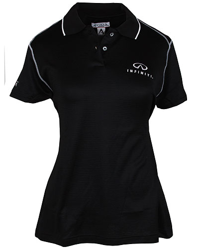 Женская черно-белая рубашка поло (INF020021) Ladies Antigua Strive Polo