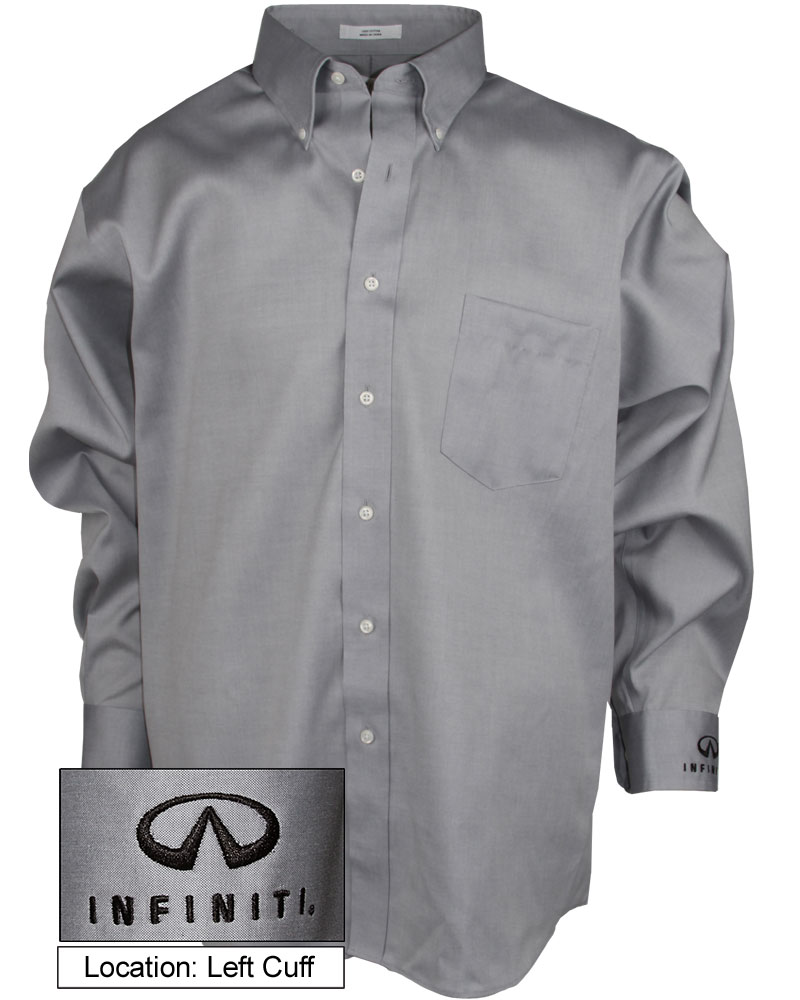 Мужская серая рубашка (INF030007) Mens Pinpoint Oxford Dress Shirt — Grey