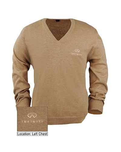 Мужской свитер (INF060001) Fine Gauge V-Neck Sweater Camel Heather