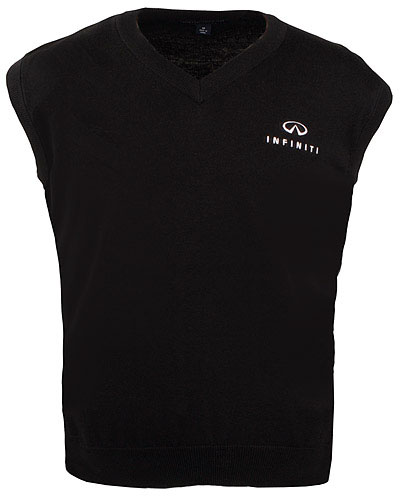 Мужской черный свитер (INF070005) Fine Gauge V-Neck Sweater Vest Black