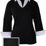 Женский черный свитер (INF070010) Ladies Sweater w/Collar & Cuffs — Blk/Wh