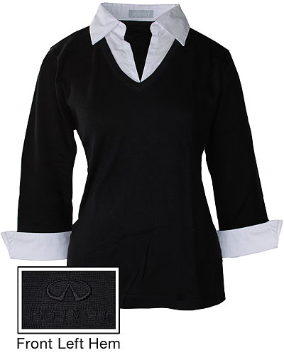 Женский черный свитер (INF070010) Ladies Sweater w/Collar & Cuffs — Blk/Wh